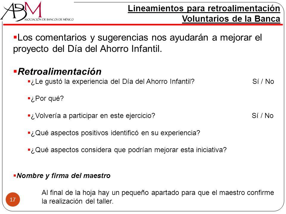 Lineamientos para retroalimentación Voluntarios de la Banca
