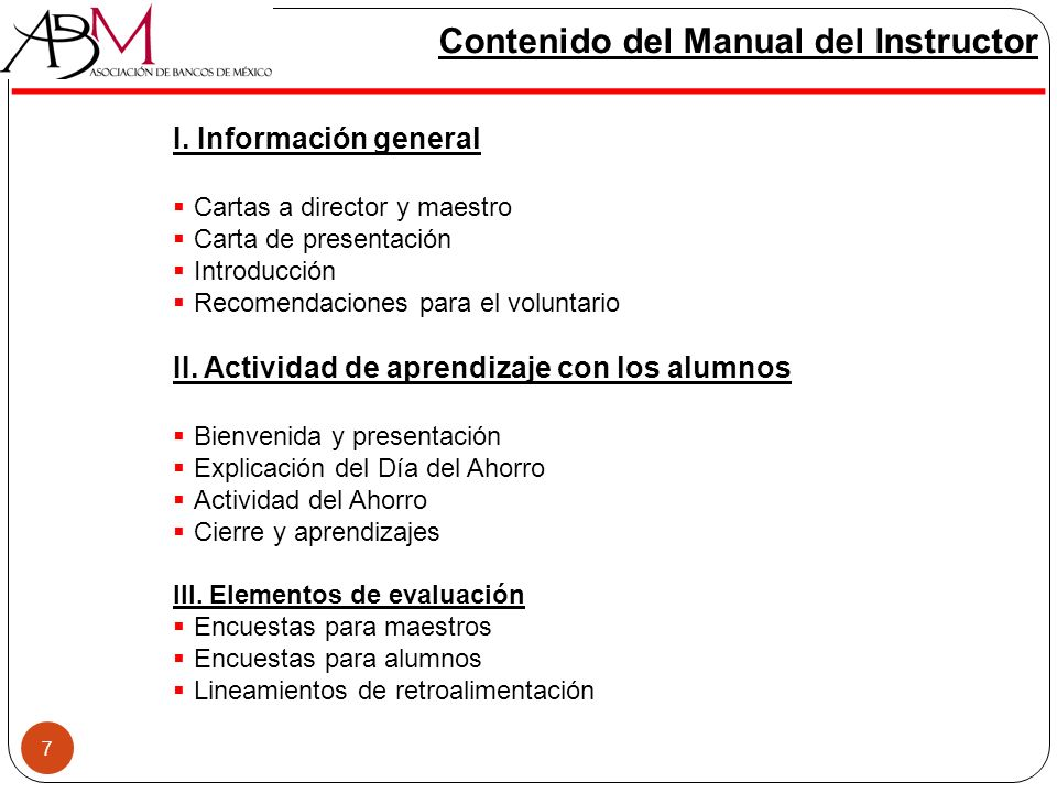 Contenido del Manual del Instructor