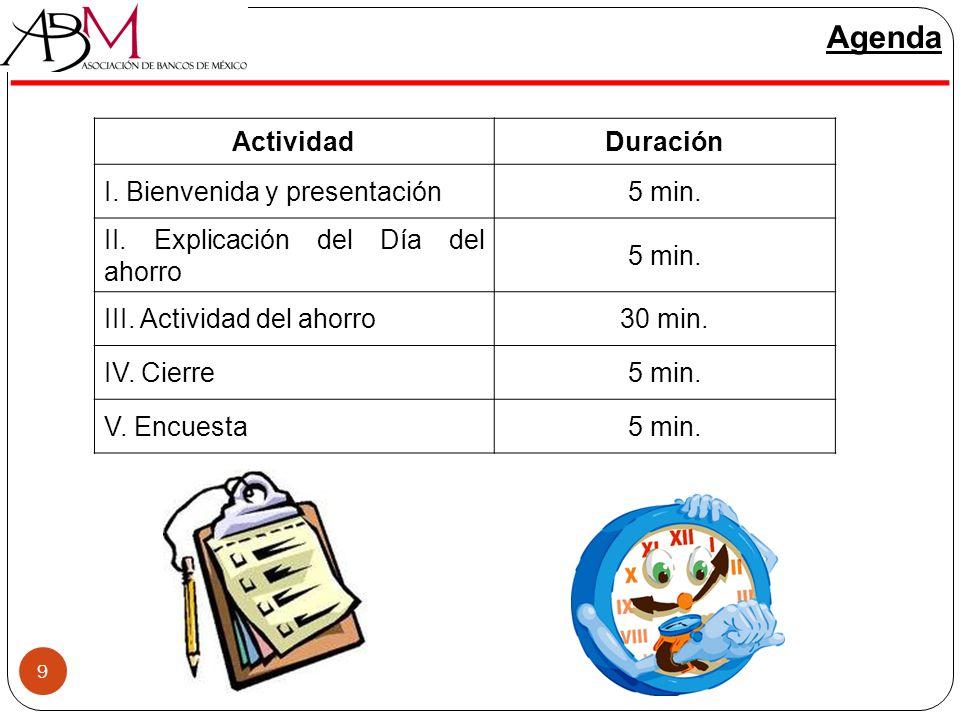 Agenda Actividad Duración I. Bienvenida y presentación 5 min.