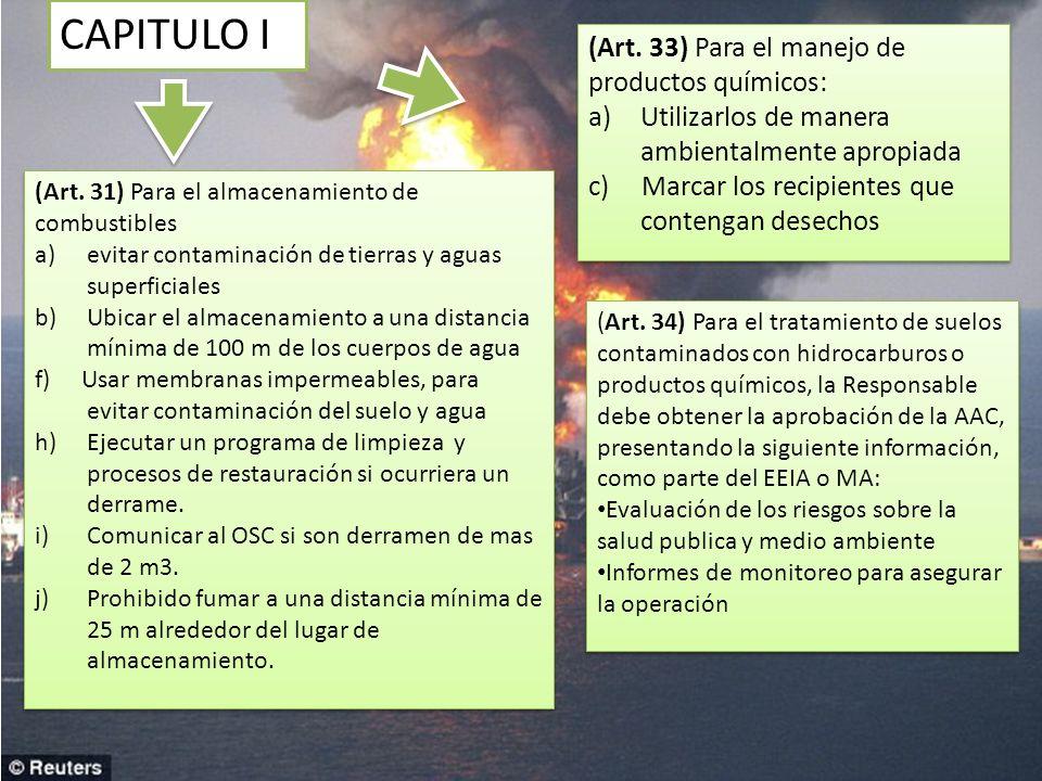 CAPITULO I (Art. 33) Para el manejo de productos químicos: