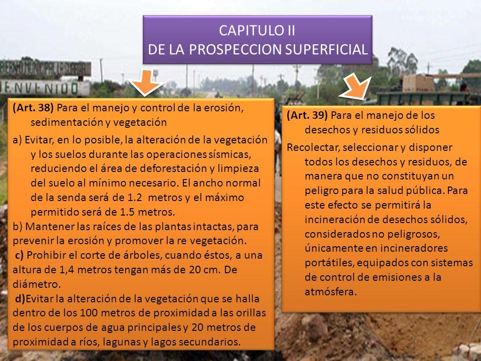 CAPITULO II DE LA PROSPECCION SUPERFICIAL