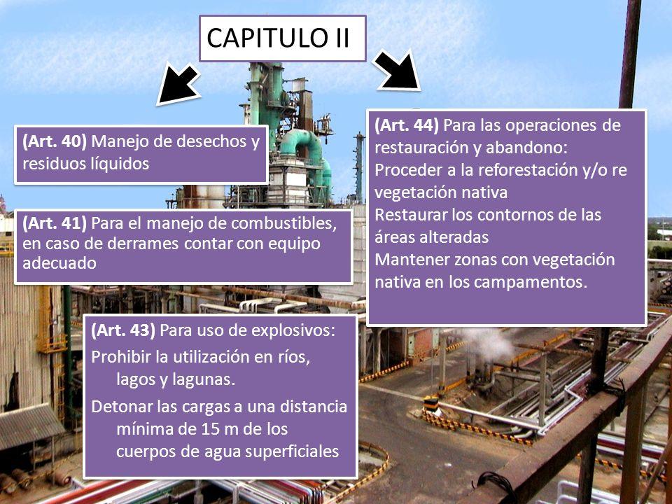 CAPITULO II (Art. 44) Para las operaciones de restauración y abandono: