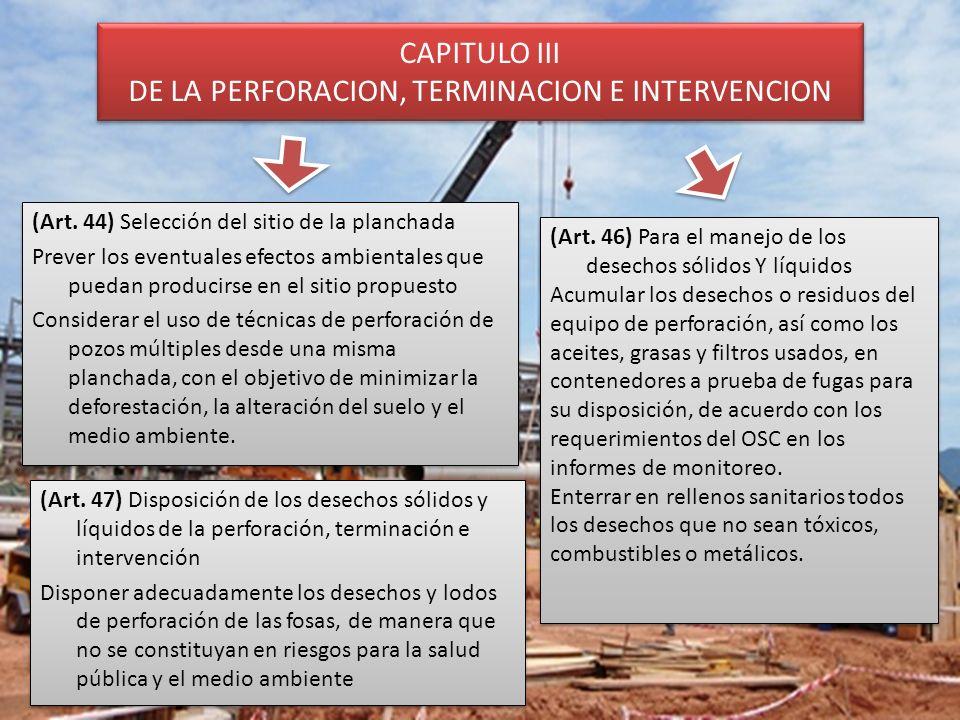 CAPITULO III DE LA PERFORACION, TERMINACION E INTERVENCION