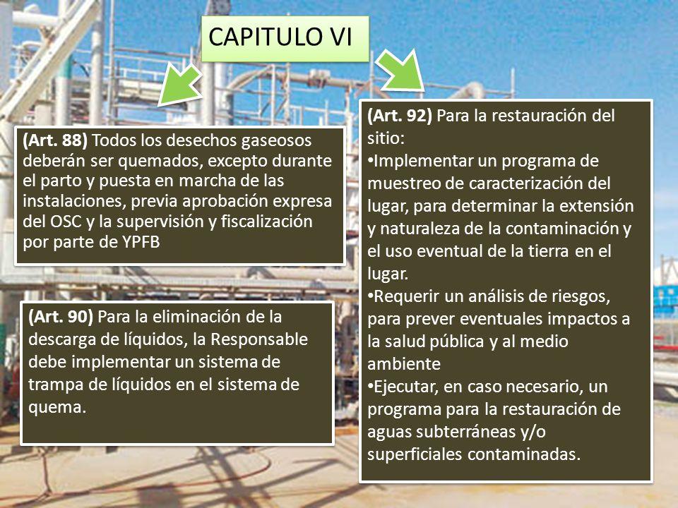 CAPITULO VI (Art. 92) Para la restauración del sitio:
