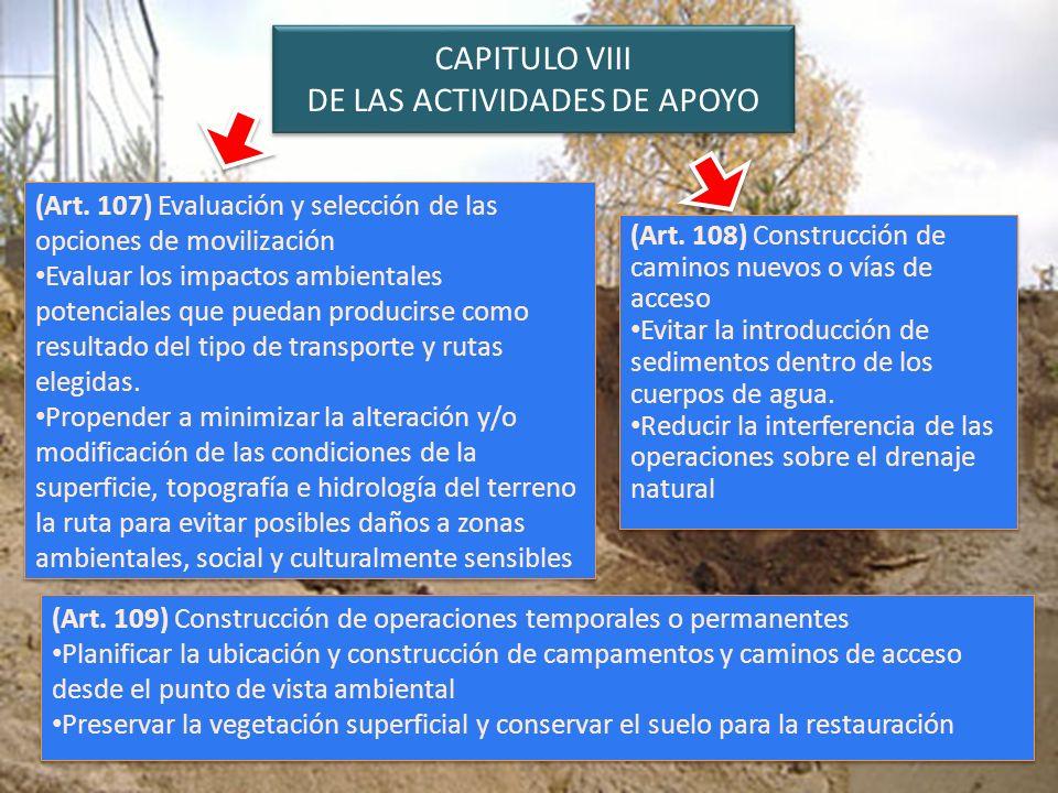 CAPITULO VIII DE LAS ACTIVIDADES DE APOYO