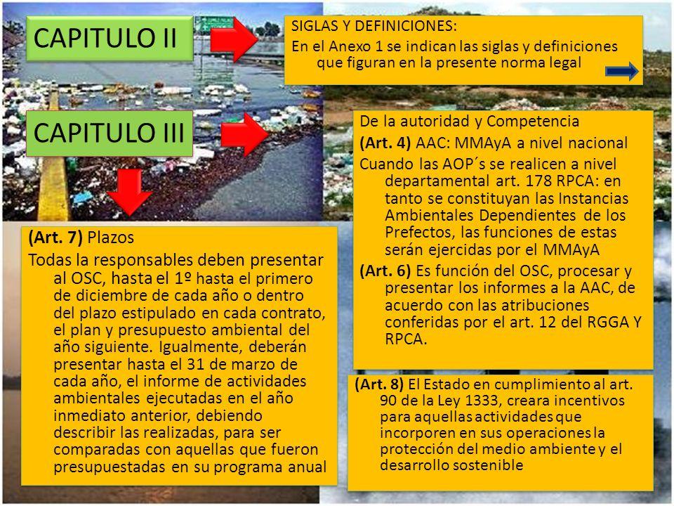 CAPITULO II CAPITULO III (Art. 7) Plazos