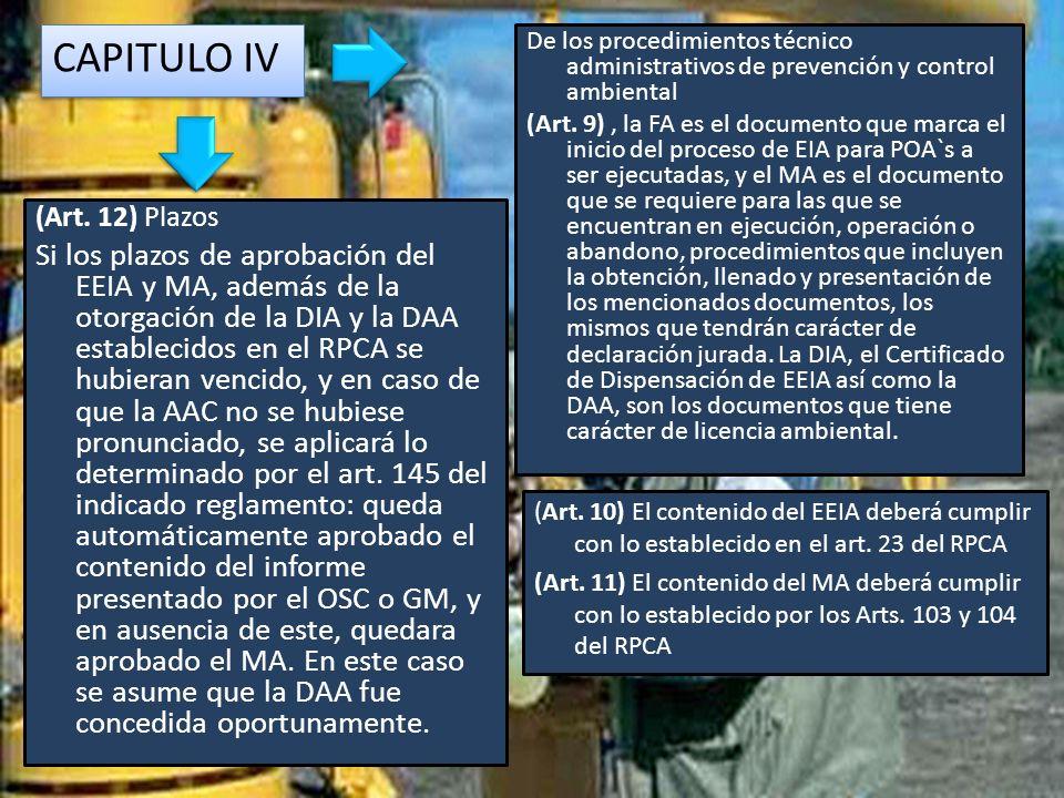 CAPITULO IV De los procedimientos técnico administrativos de prevención y control ambiental.