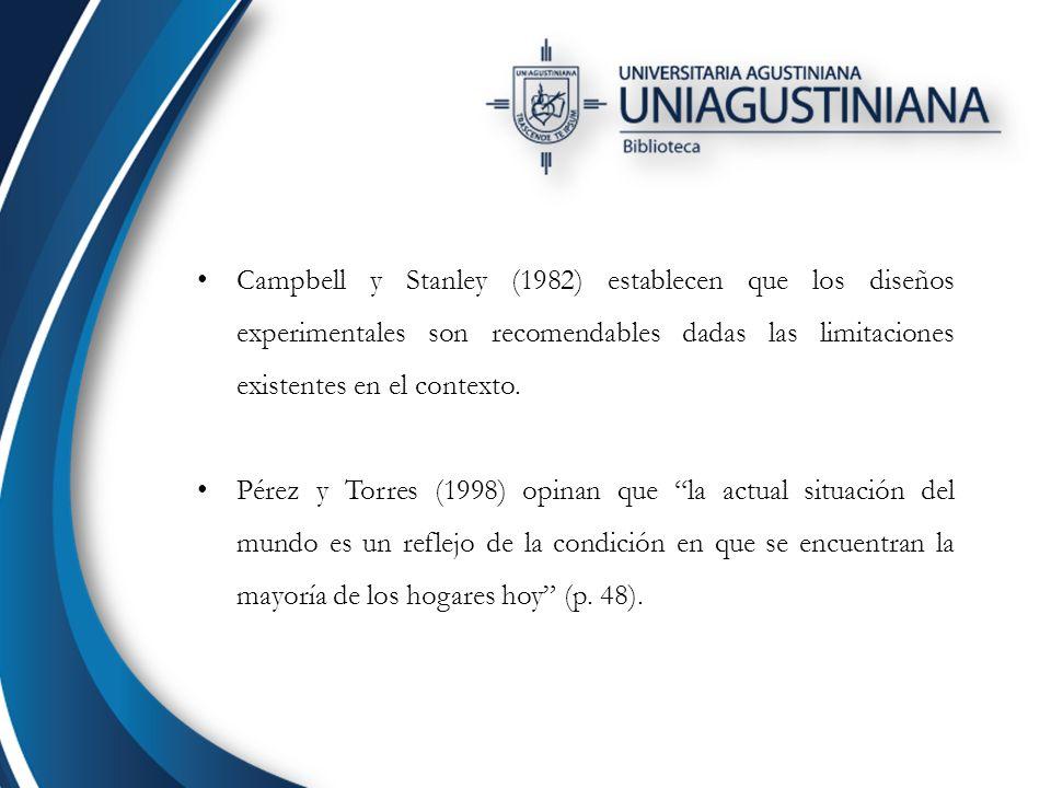 Campbell y Stanley (1982) establecen que los diseños experimentales son recomendables dadas las limitaciones existentes en el contexto.