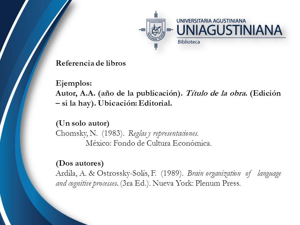 Referencia de libros Ejemplos: Autor, A.A. (año de la publicación). Título de la obra. (Edición – si la hay). Ubicación: Editorial.