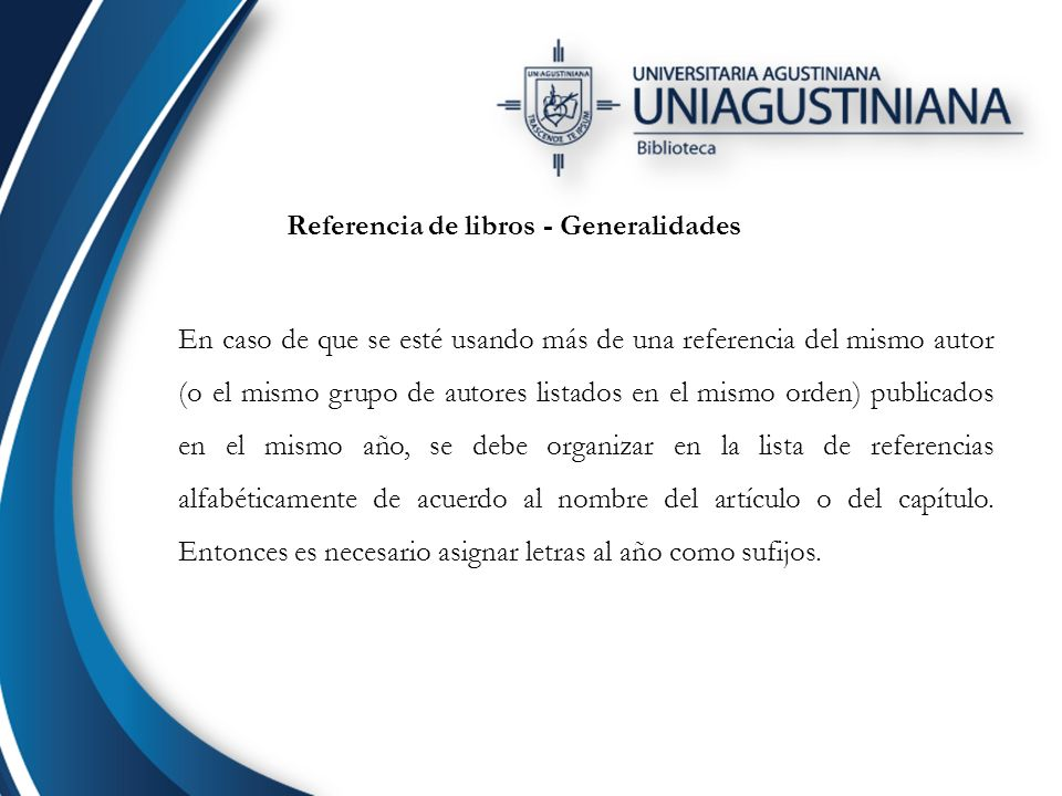 Referencia de libros - Generalidades