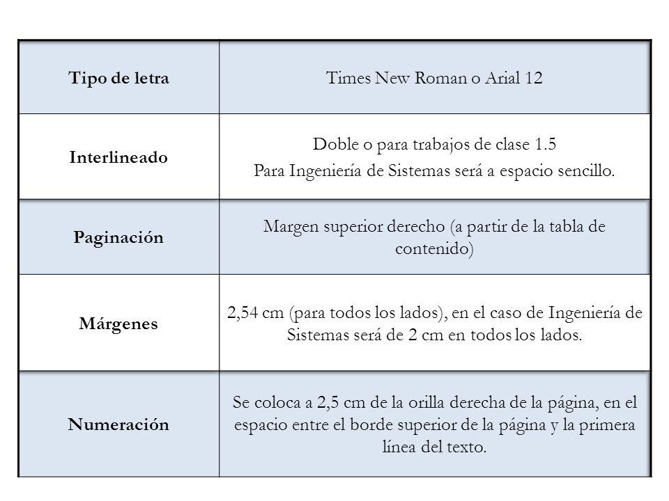 Forma Tipo de letra Times New Roman o Arial 12 Interlineado