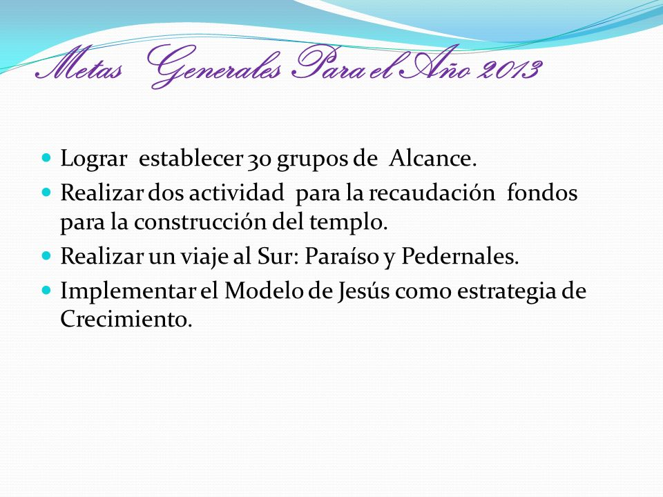 Metas Generales Para el Año 2013