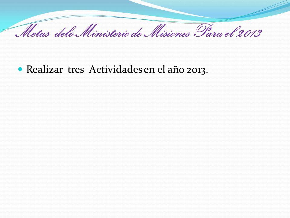 Metas delo Ministerio de Misiones Para el 2013