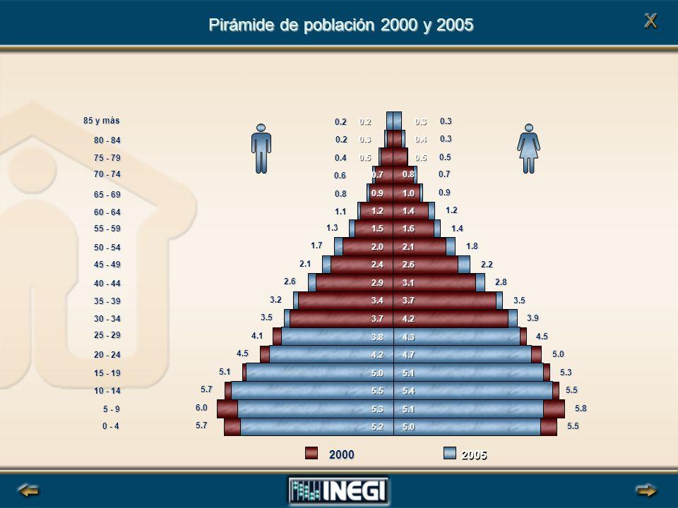 Pirámide de población 2000 y 2005