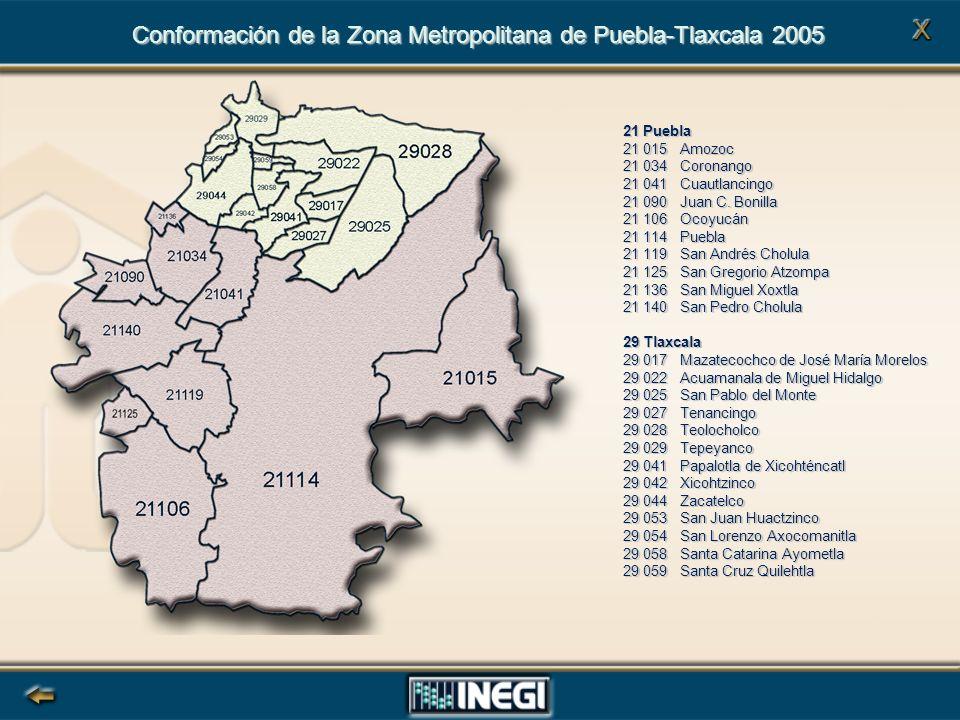 Conformación de la Zona Metropolitana de Puebla-Tlaxcala 2005
