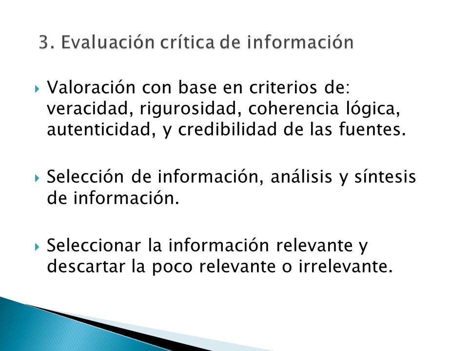 3. Evaluación crítica de información