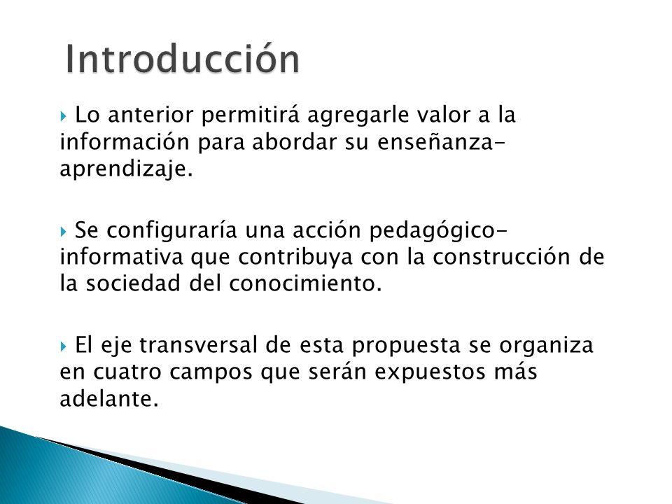 Introducción Lo anterior permitirá agregarle valor a la información para abordar su enseñanza- aprendizaje.
