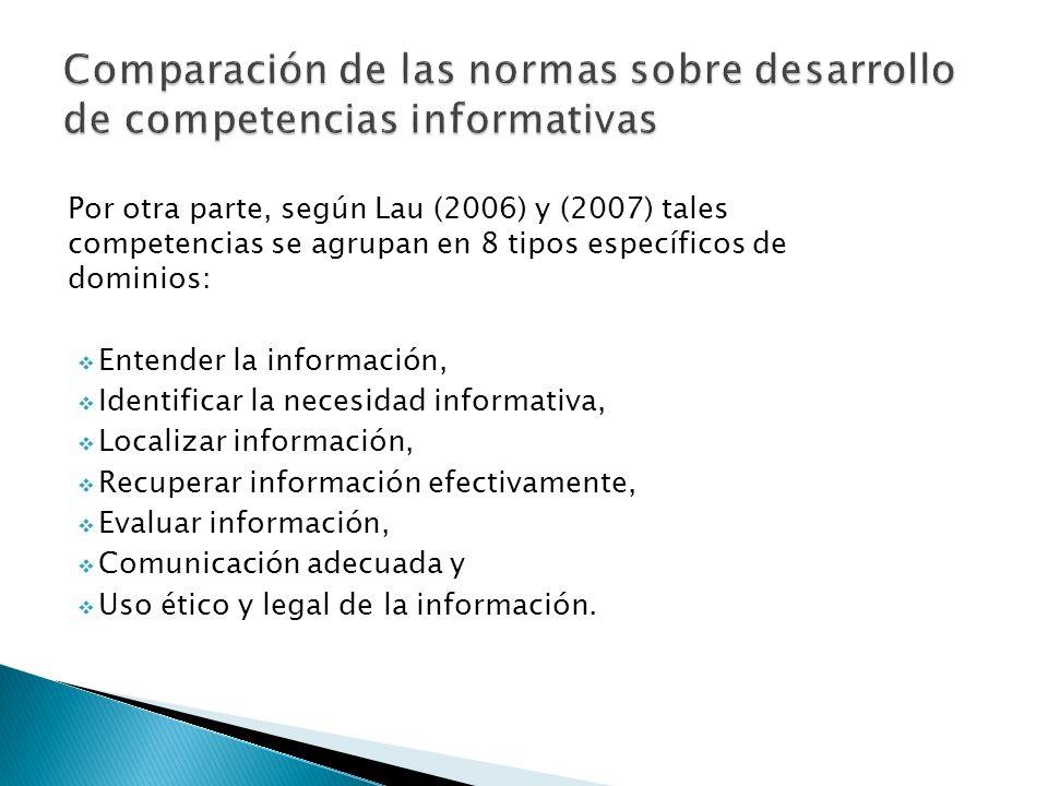 Comparación de las normas sobre desarrollo de competencias informativas