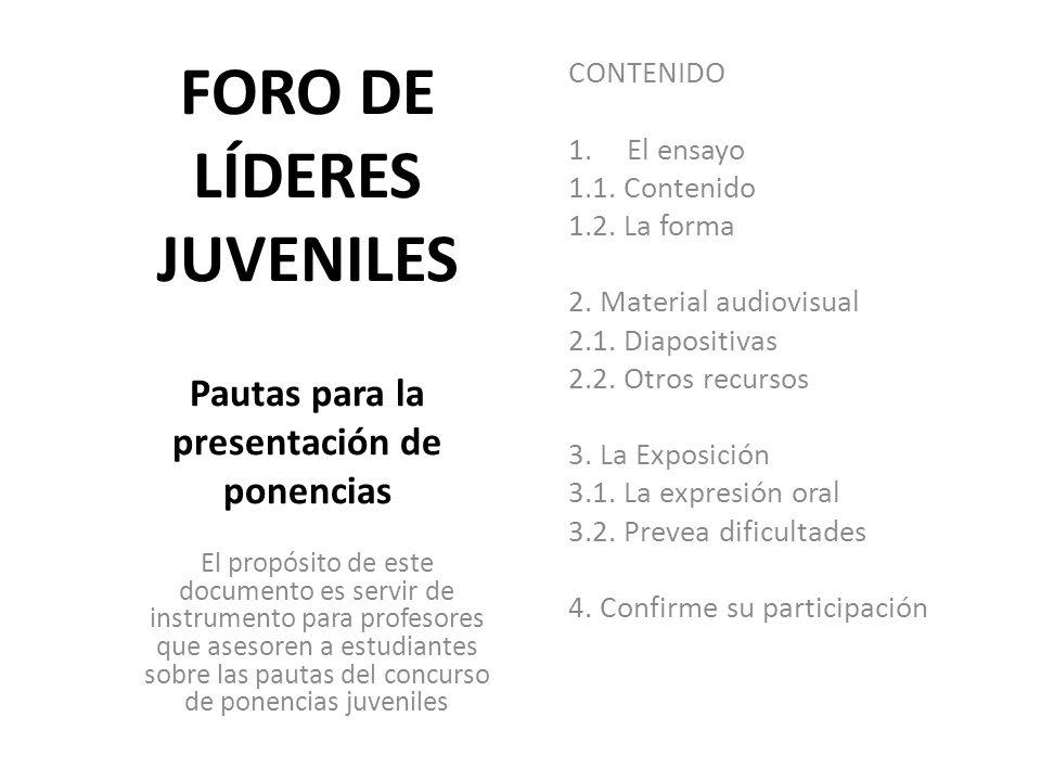 FORO DE LÍDERES JUVENILES Pautas para la presentación de ponencias