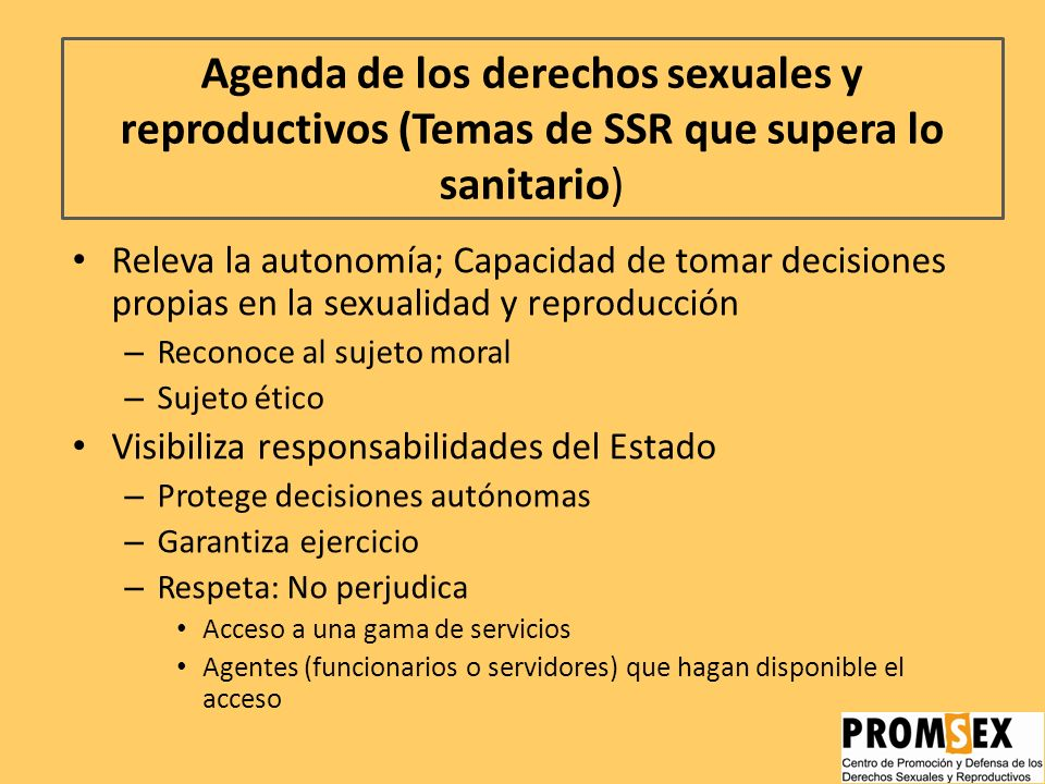 Agenda de los derechos sexuales y reproductivos (Temas de SSR que supera lo sanitario)