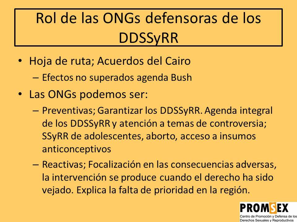 Rol de las ONGs defensoras de los DDSSyRR