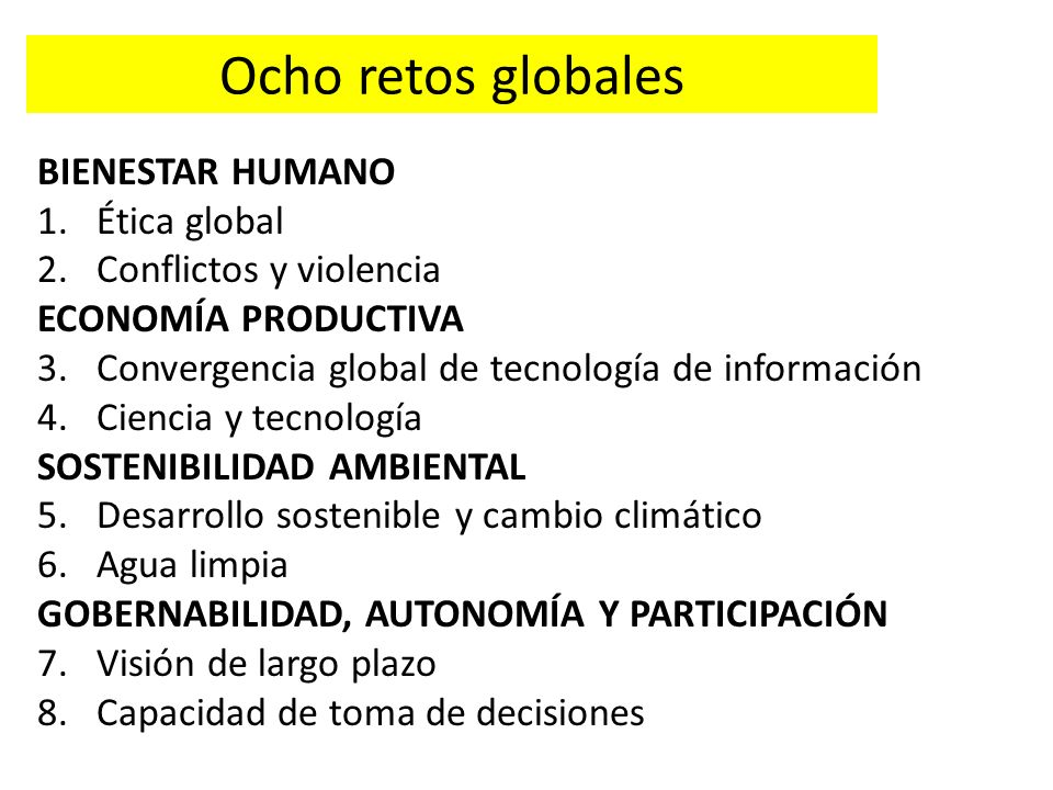 Ocho retos globales BIENESTAR HUMANO Ética global