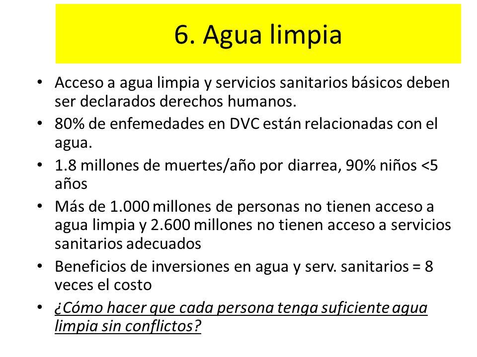 6. Agua limpia Acceso a agua limpia y servicios sanitarios básicos deben ser declarados derechos humanos.