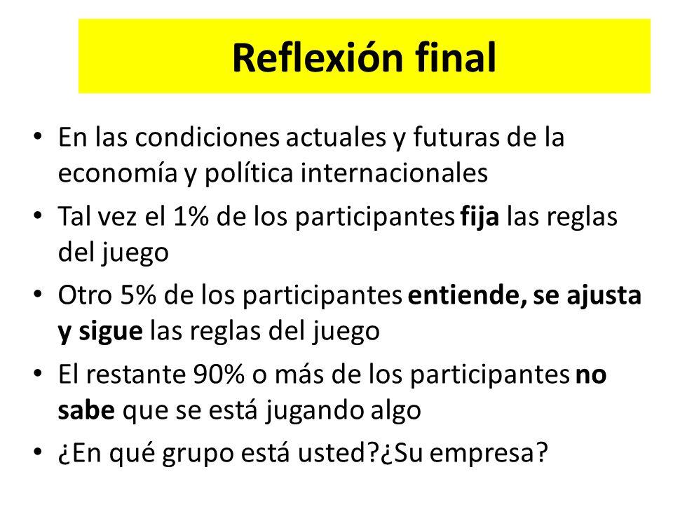 Reflexión final En las condiciones actuales y futuras de la economía y política internacionales.