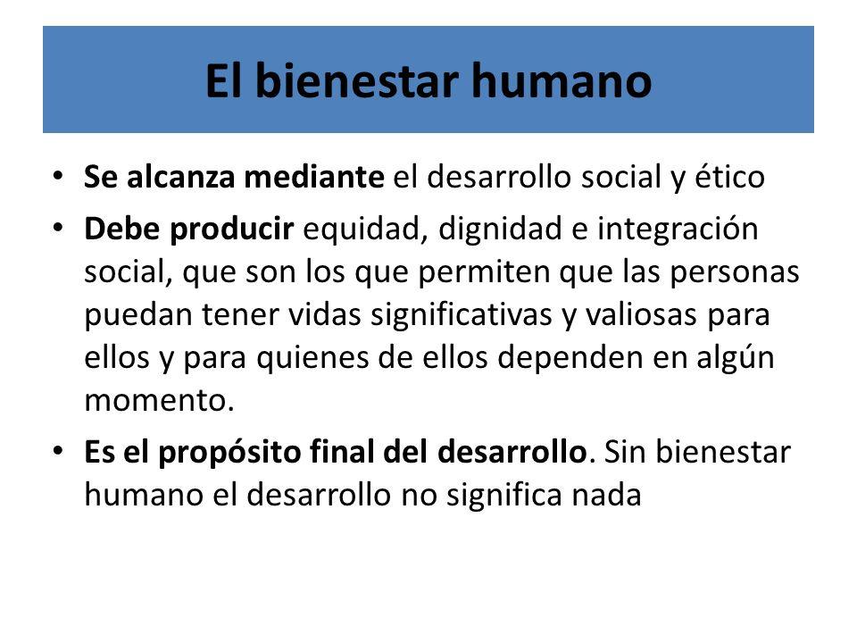 El bienestar humano Se alcanza mediante el desarrollo social y ético