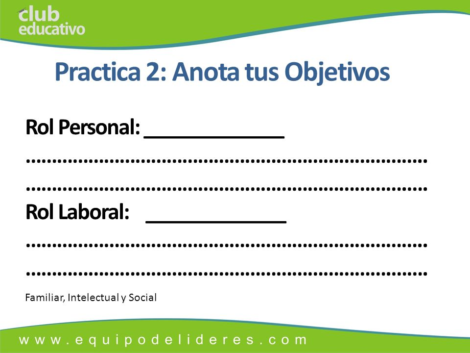 Practica 2: Anota tus Objetivos