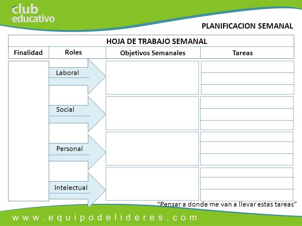 HOJA DE TRABAJO SEMANAL
