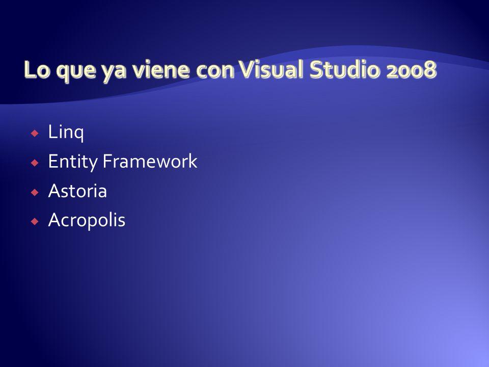Lo que ya viene con Visual Studio 2008