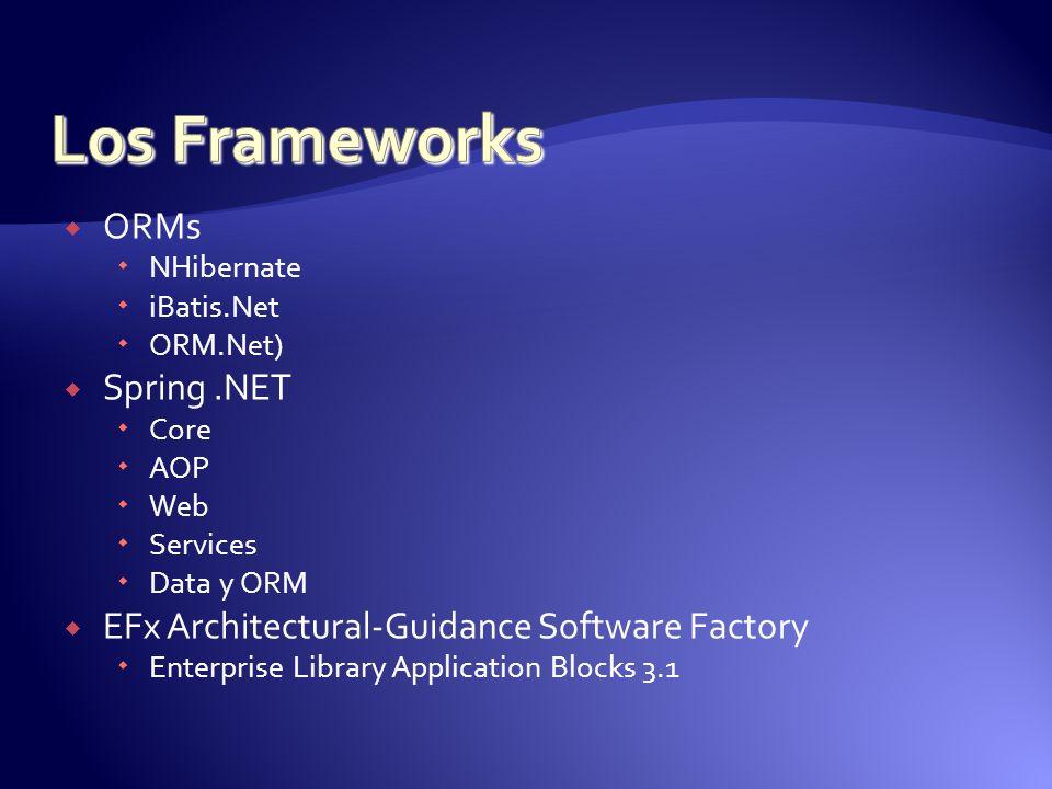 Los Frameworks ORMs Spring .NET