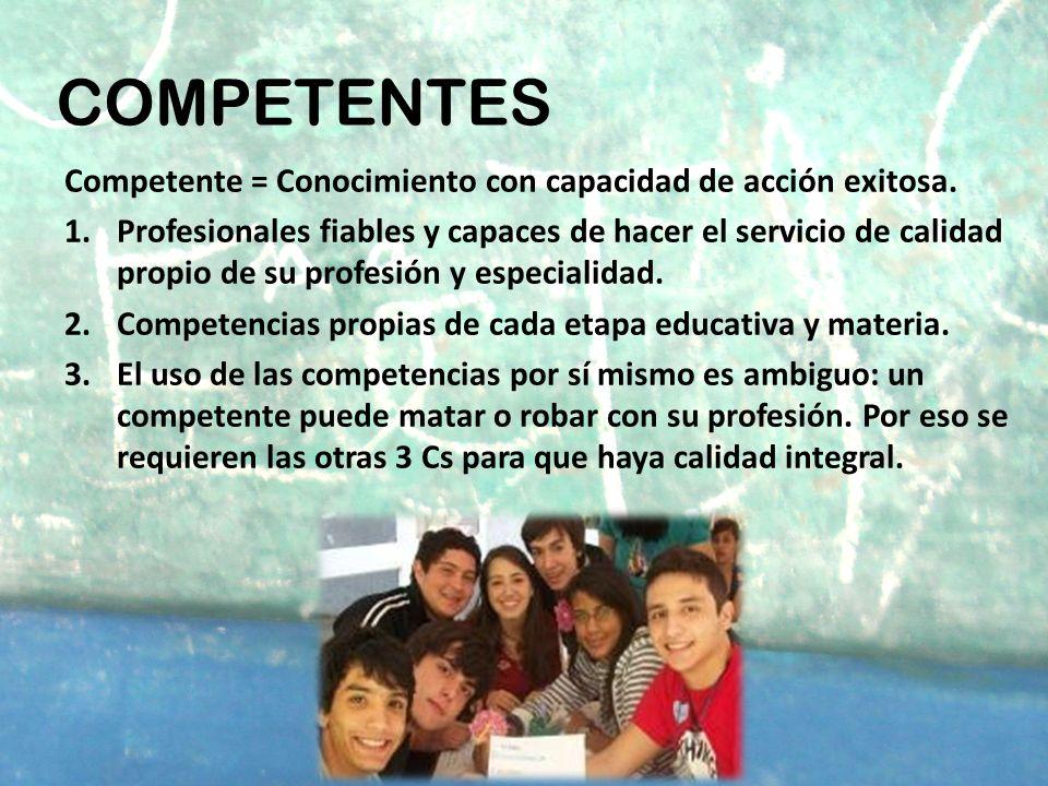 COMPETENTES Competente = Conocimiento con capacidad de acción exitosa.