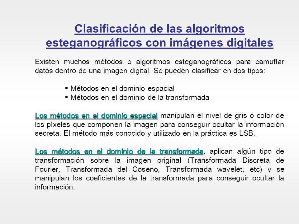 Clasificación de las algoritmos esteganográficos con imágenes digitales