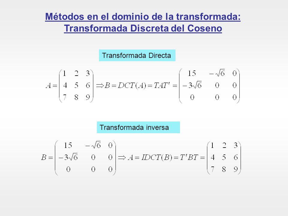 Métodos en el dominio de la transformada: Transformada Discreta del Coseno