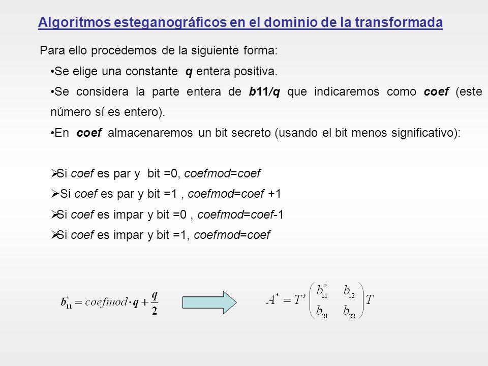 Algoritmos esteganográficos en el dominio de la transformada