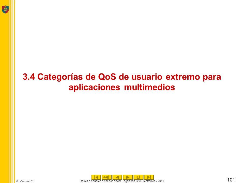 3.4 Categorías de QoS de usuario extremo para aplicaciones multimedios