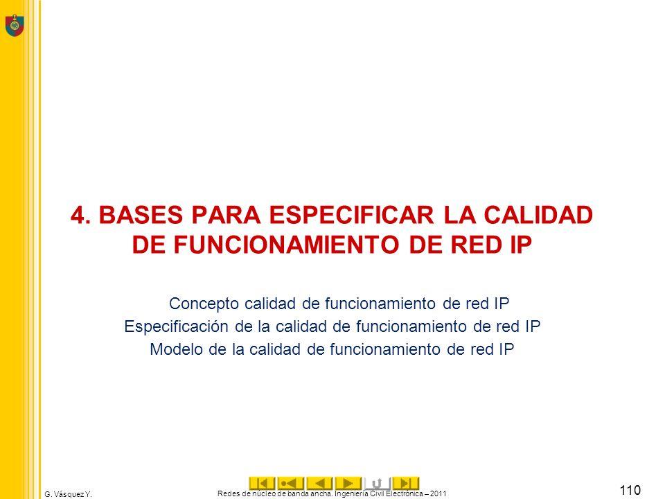 4. BASES PARA ESPECIFICAR LA CALIDAD DE FUNCIONAMIENTO DE RED IP