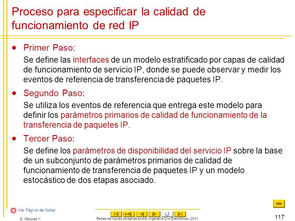 Proceso para especificar la calidad de funcionamiento de red IP