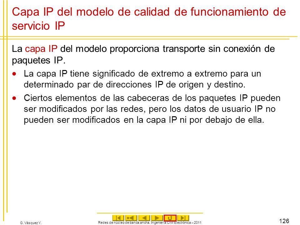 Capa IP del modelo de calidad de funcionamiento de servicio IP