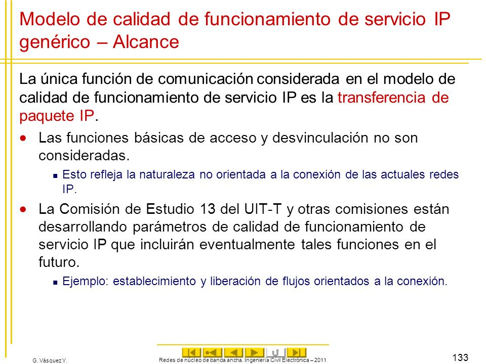 Modelo de calidad de funcionamiento de servicio IP genérico – Alcance