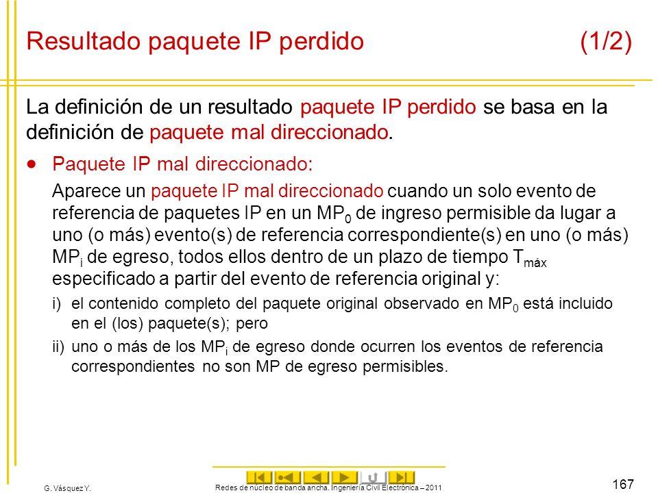 Resultado paquete IP perdido (1/2)