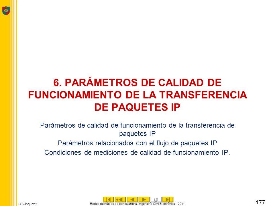 6. PARÁMETROS DE CALIDAD DE FUNCIONAMIENTO DE LA TRANSFERENCIA DE PAQUETES IP