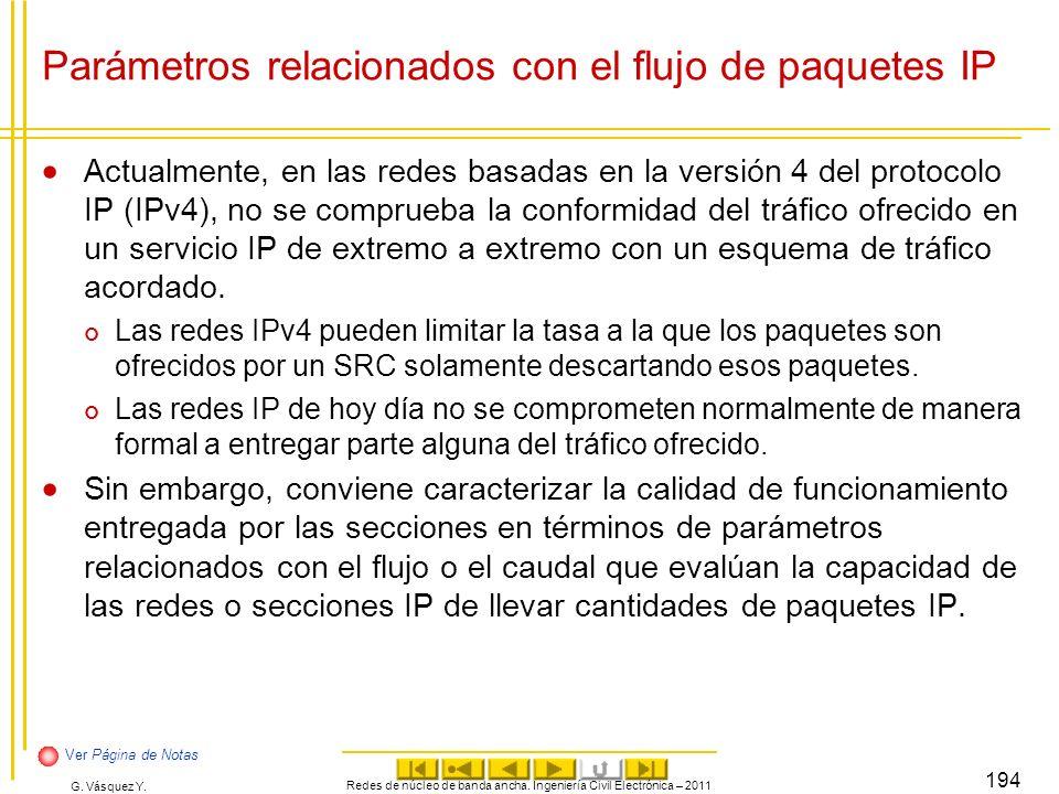 Parámetros relacionados con el flujo de paquetes IP
