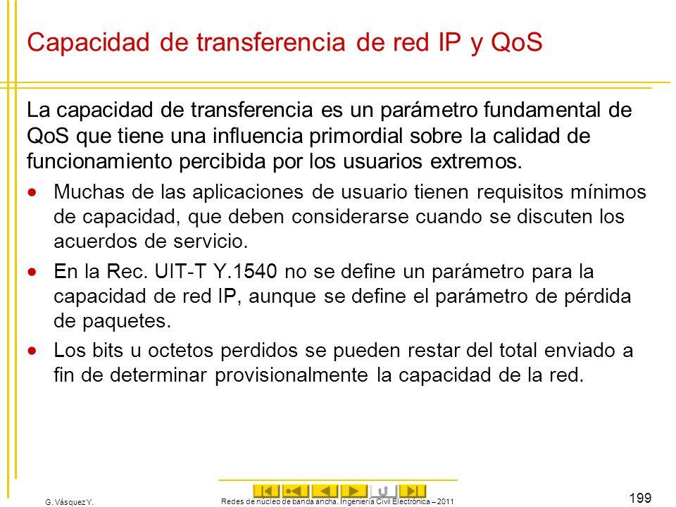 Capacidad de transferencia de red IP y QoS