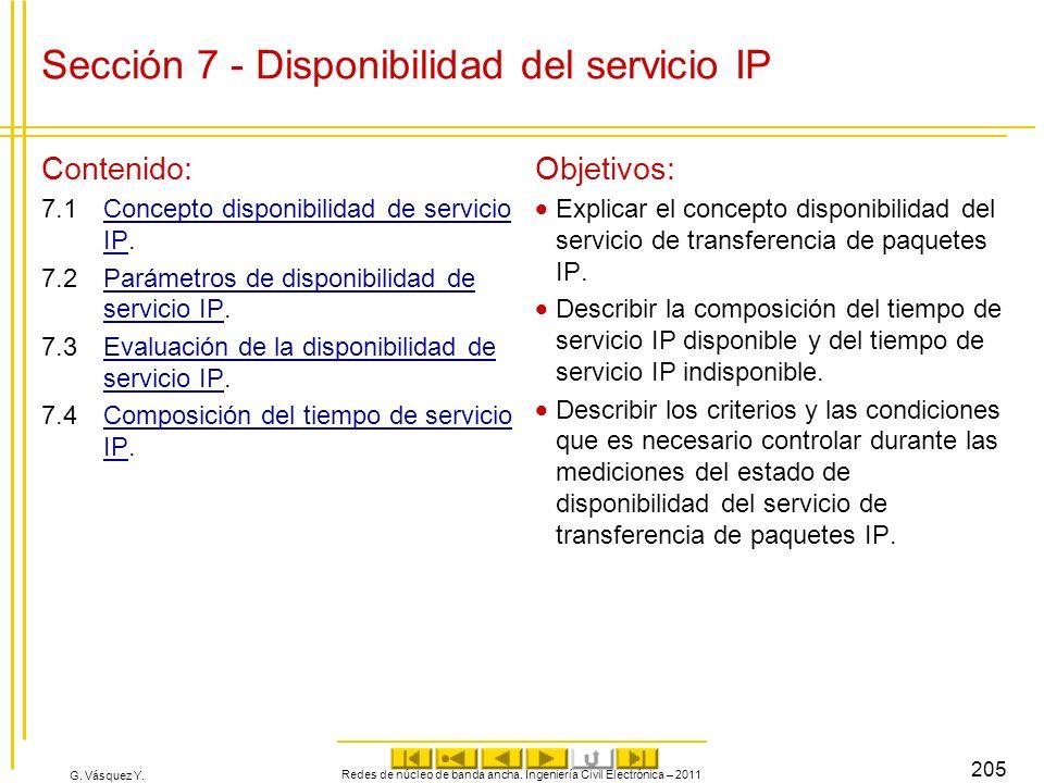 Sección 7 - Disponibilidad del servicio IP