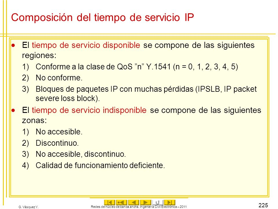 Composición del tiempo de servicio IP