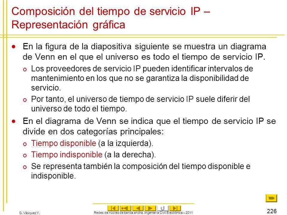 Composición del tiempo de servicio IP – Representación gráfica