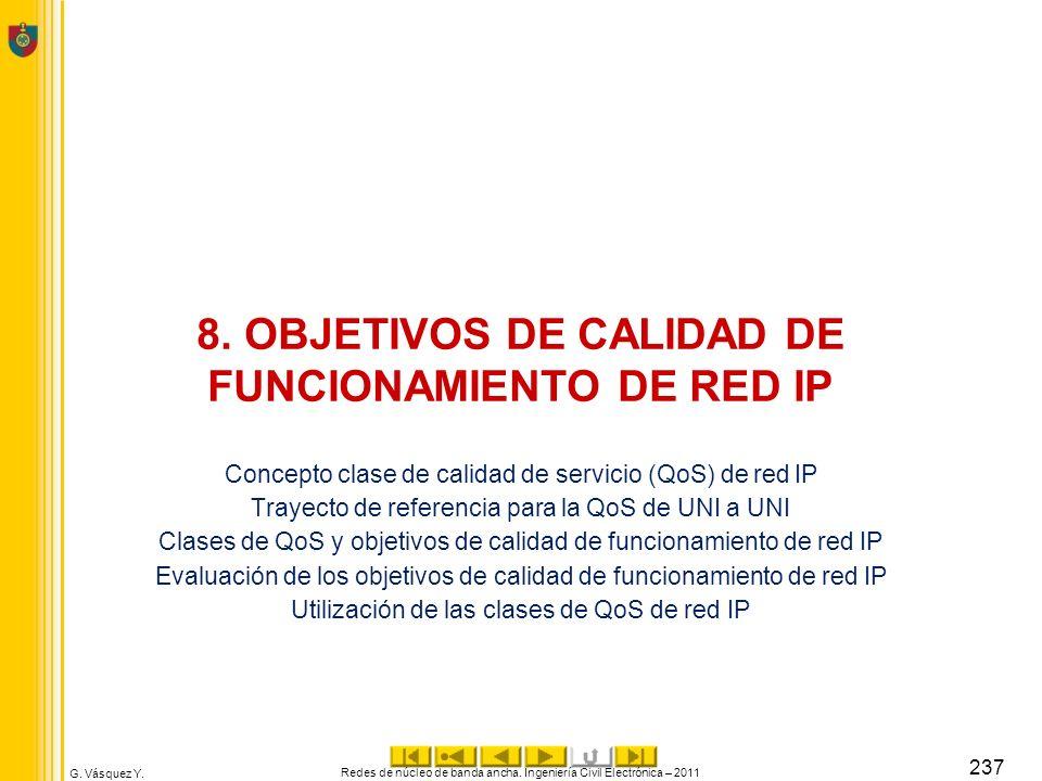 8. OBJETIVOS DE CALIDAD DE FUNCIONAMIENTO DE RED IP
